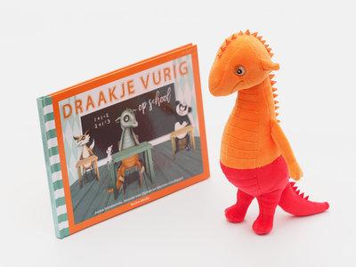 Set Knuffel Draakje  + boek Draakje Vurig op school